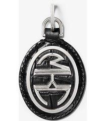 mk portachiavi monogramme in pelle stampa coccodrillo - nero (nero) - michael kors