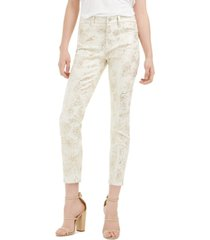 jen7 by 7 for all mankind metallic floral print cropped pants