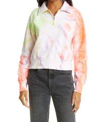 re/done '70s half zip cotton fleece sweatshirt, size large in neon space dye at nordstrom