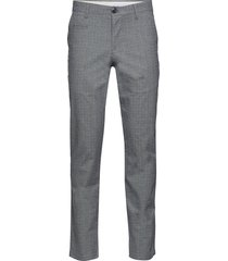 chuck regular checked chino - gots/ chinos byxor grå knowledge cotton apparel