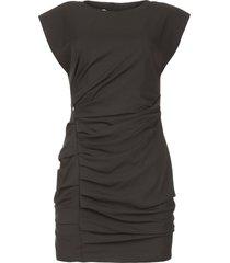 gedrapeerde jurk met schoudervullingen rajani  zwart