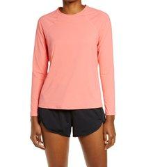 women's l.l. bean renew crewneck rashguard shirt, size large - coral