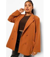 plus oversized blazer met zak detail, camel