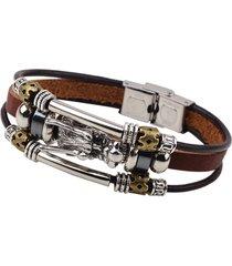 braccialetto multistrati in cuoio