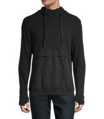 rnt23 men's contrast-pocket hoodie - black - size xxxl