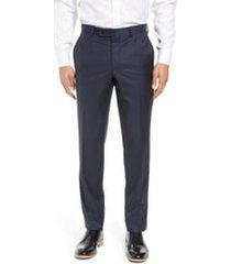 men's ted baker london jefferson flat front wool dress pants, size 28 x unhemmed - blue