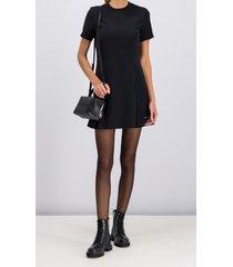 vestido negro calvin klein poly satin weave ss dress