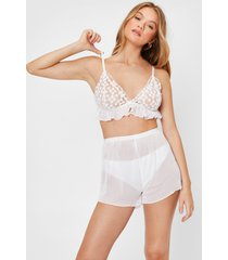 womens chiffon floral pleated bralette and short pajama set - white