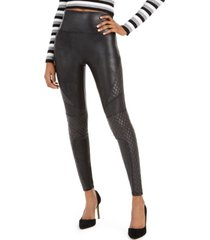 spanx petite faux-leather quilted leggings