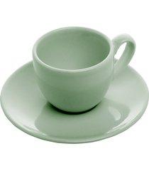 conjunto 6 xícaras cerâmica para chá com pires alanya eden 275ml