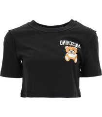 moschino cropped t-shirt inside out teddy bear