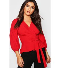bell sleeve wrap over top, red