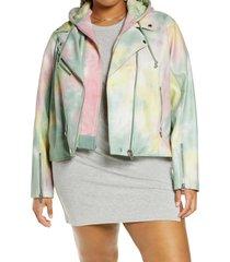 plus size women's blanknyc faux leather tie dye moto jacket, size 3x - green