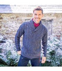 men's v-neck one button aran sweater blue xxl