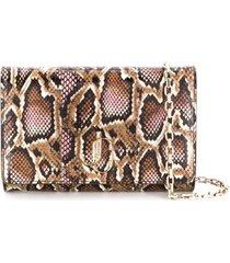 jimmy choo varenne snakeskin-effect clutch - rosa