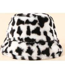 cow print faux fur winter bucket hat