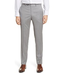 men's peter millar harker flat front solid stretch wool dress pants, size 38 - grey