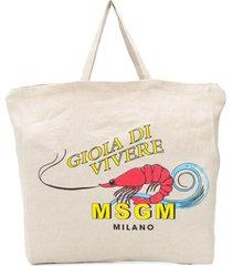 msgm bolsa tote com estampa de camarão - neutro