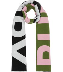 burberry logo oversized scarf - green