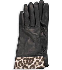 portolano women's leopard calf hair & leather gloves - black - size 7.5