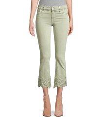 selena mid-rise crop bootcut floral lace hem jeans