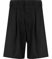buscemi front pleated shorts - black