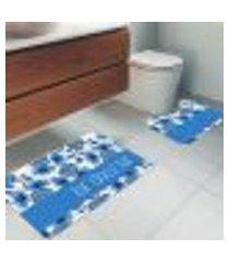 jogo tapetes para banheiro 2 peças lar doce lar único
