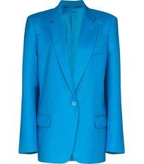 over-sized turquoise blazer