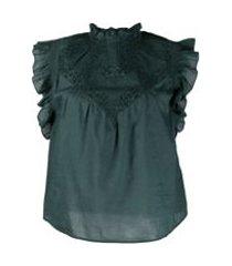 ba&sh blusa sem mangas com babados - verde
