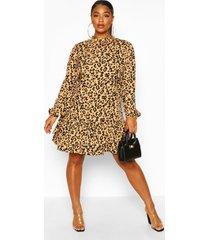 plus leopard print high neck smock dress, tan