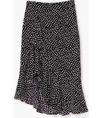 womens abstract spot ruffle midi skirt - black