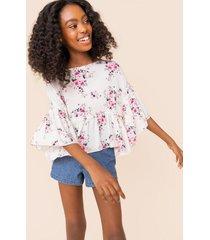 franki ruffled floral babydoll blouse - ivory