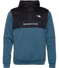 m train n logo 1/4 zip hoodie hoodie trui blauw the north face