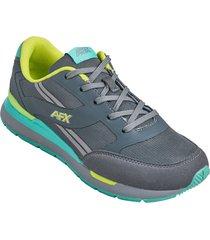 zapatos jogger aeroflex gris verde mf8922