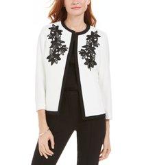 kasper embroidered flyaway jacket