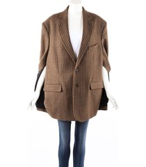 balenciaga brown houndstooth checked wool cape jacket brown sz: s