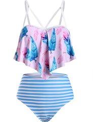 leaves print stripes flounces strappy plus size tankini swimwear