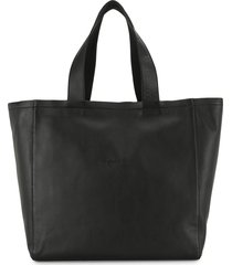 agnès b. embroidered-logo tote bag - black