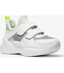 mk sneaker keeley in materiale misto - atom green - michael kors