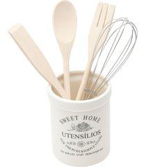 conjunto bon gourmet com 4 utensílios para cozinha com suporte em cerâmica branco