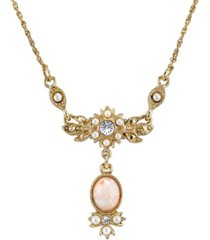 """downton abbey gold-tone peach color simulated pearl and crystal necklace 16"""" adjustable"""