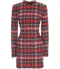 balmain short ls 3 btn tartan tweed dress