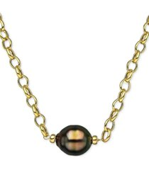 """cultured black south sea baroque pearl (11mm) 19"""" pendant necklace in 18k gold-plated sterling silver"""