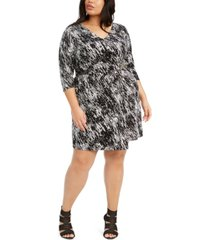 belldini plus size printed wrap dress