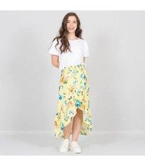falda larga cruzada amarilla nauty blue 2315