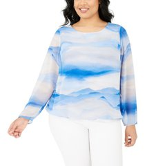 alfani plus size printed bubble top, created for macy's