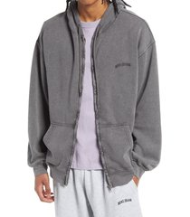 men's bdg urban outfitters men's front zip hoodie, size x-small - grey