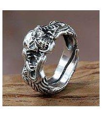 men's sterling silver ring, 'fierce dragon' (indonesia)