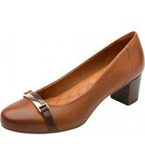 zapato nany taco bajo color brandy flexi