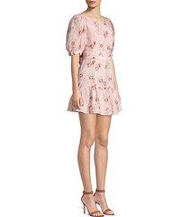 lena floral linen ruffle dress